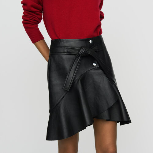 Asymmetric leather skirt : Tartan color Black 210