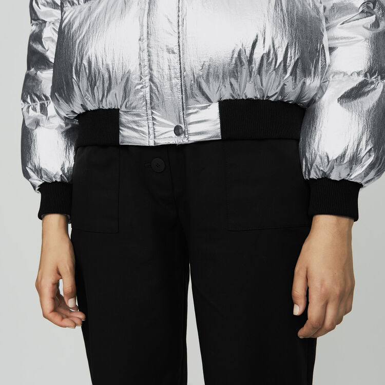 Cropped down jacket in crinkle nylon : Coats color Silver