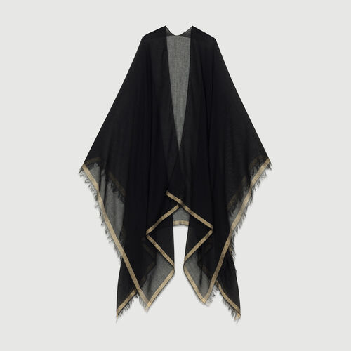 Lurex striped poncho : Scarves color Black 210