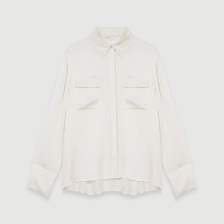 Silk satin shirt : Campaign FW19 color White