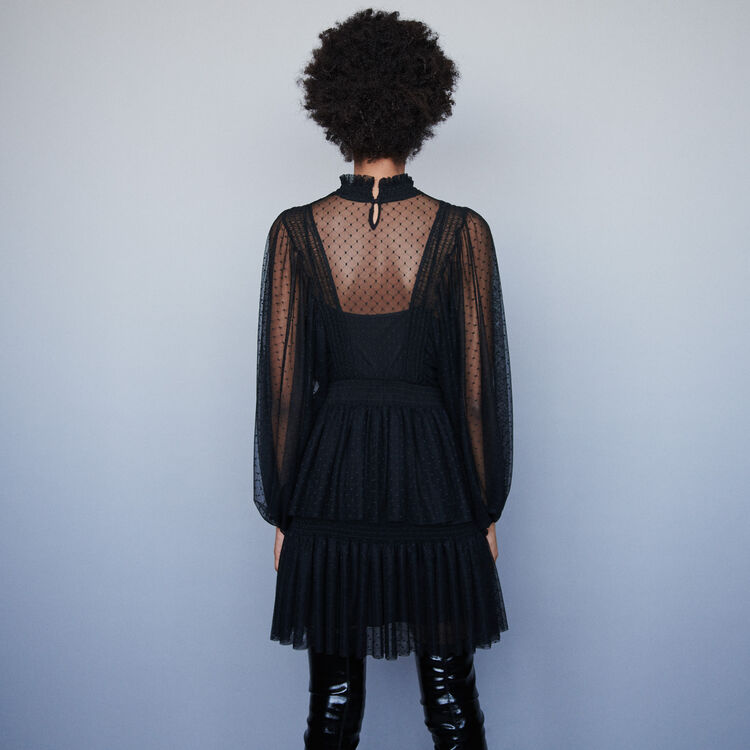 Plumetis tulle dress with ruffles : Dresses color Black