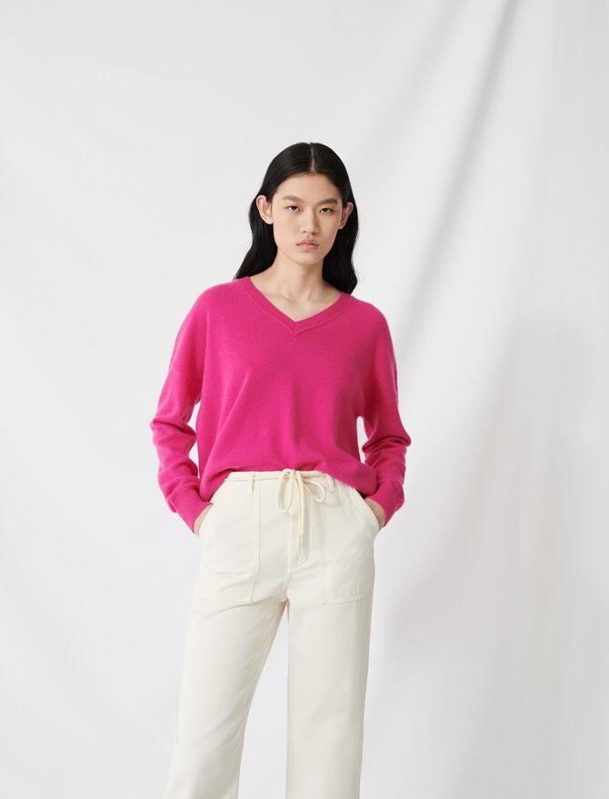 V-neck cashmere jumper - Knitwear - MAJE