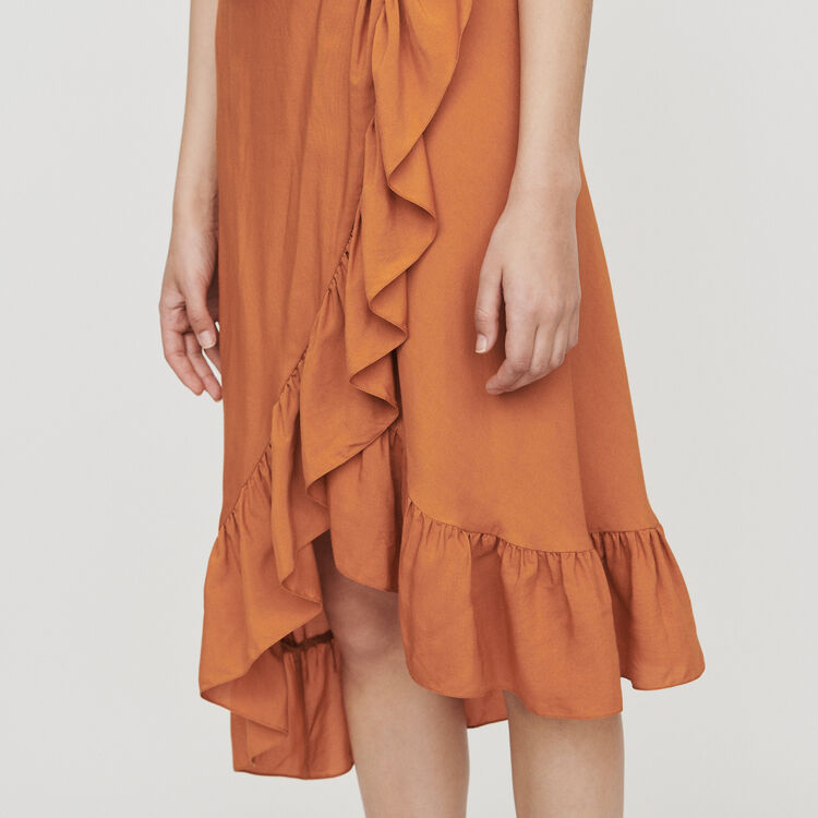 Midi dress with bare shoulders : Campaign SS19 color Terracota