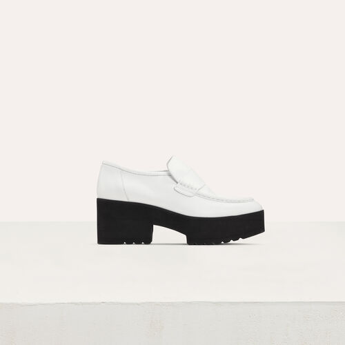 Leather platform mocassins : Flat shoes color White