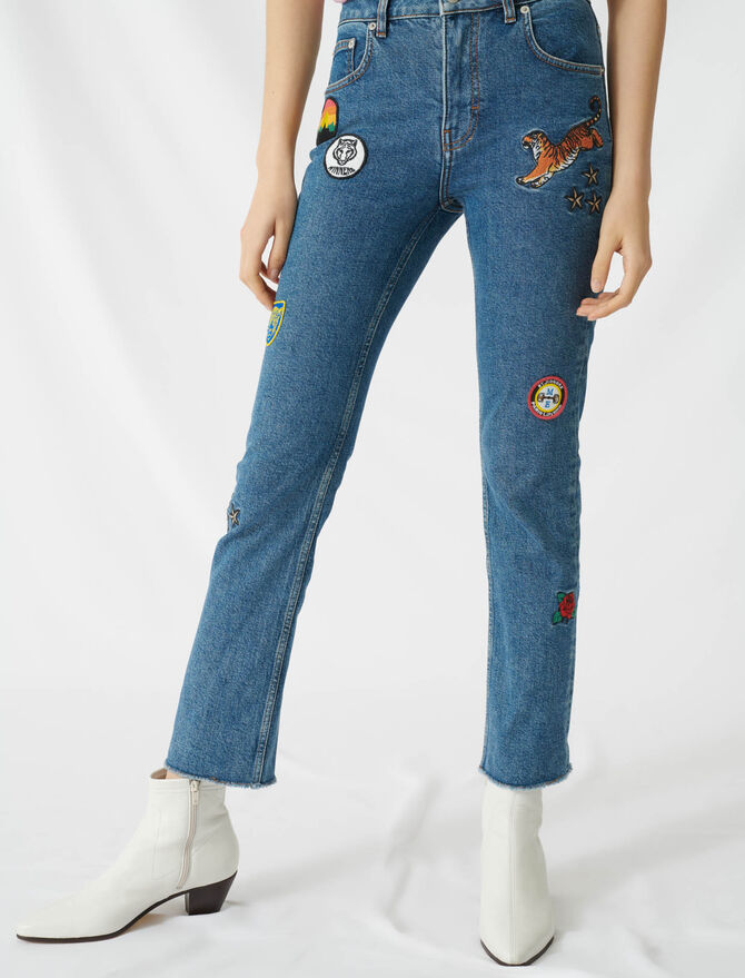 Straight jeans with embroidered patches - Trousers & Jeans - MAJE