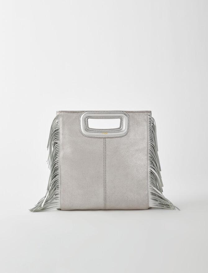 Silver leather M bag -  - MAJE