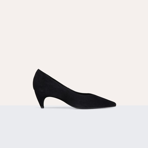 Suede leather court shoes with cut-out - Shoes - MAJE