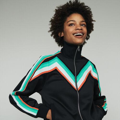 Zipped sport jacket : Sweatshirts color Black 210
