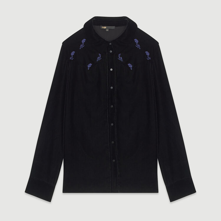 Shirt in embroidered velvet : Shirts color Black 210