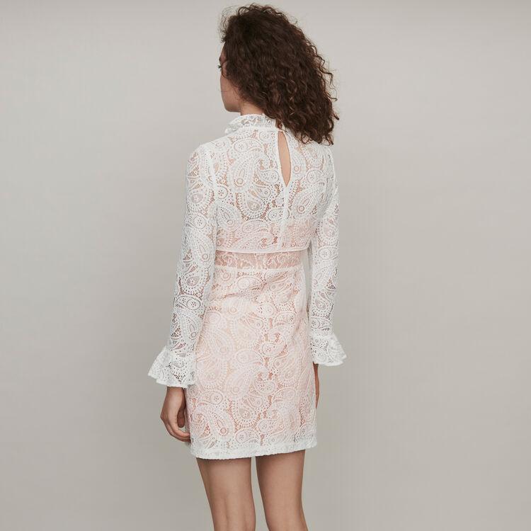 Dress with cashmere detail : Dresses color Ecru