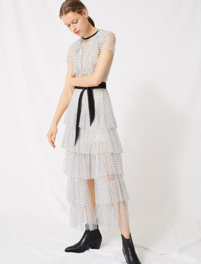 Long dress in dotted Swiss tulle - Dresses - MAJE