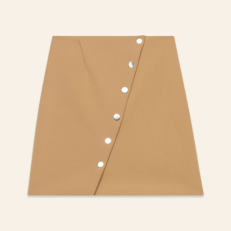 Short skirt with press studs : Skirts & Shorts color Camel