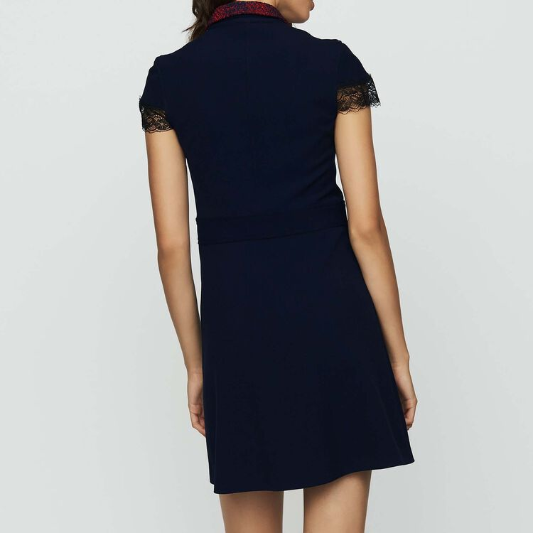 Shirt dress in crepe and lace : Dresses color Navy