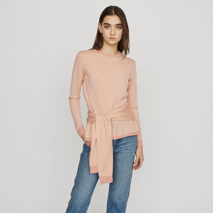 Thin sweater with tie : New in : Summer Collection color Coral
