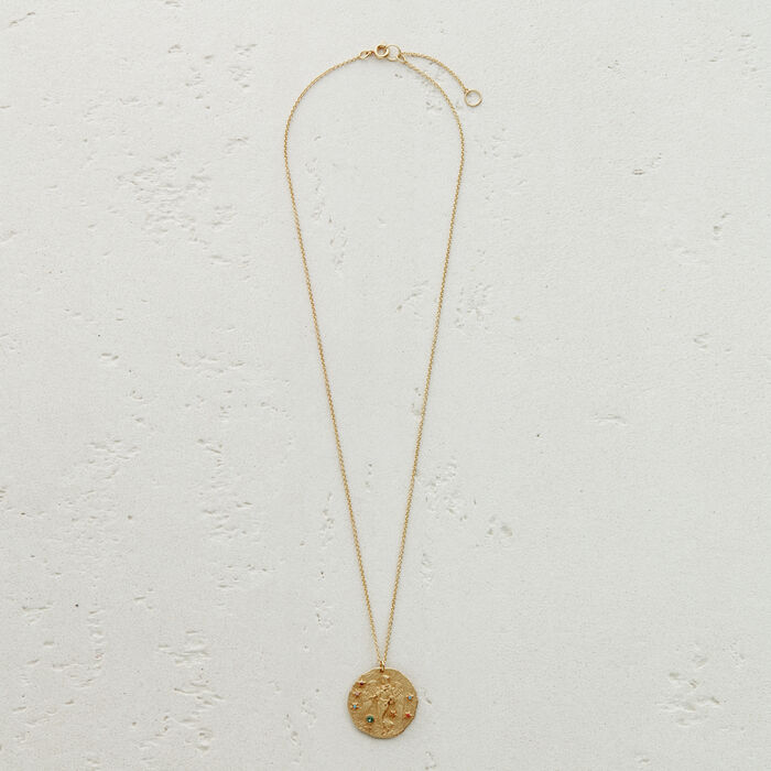 Virgo zodiac sign necklace : Shop by color GOLD