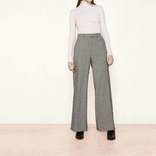 Wool jacquard wide-leg trousers : Trousers & Jeans color Jacquard