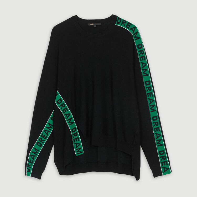 Oversize graphic sweater : Knitwear color Black 210