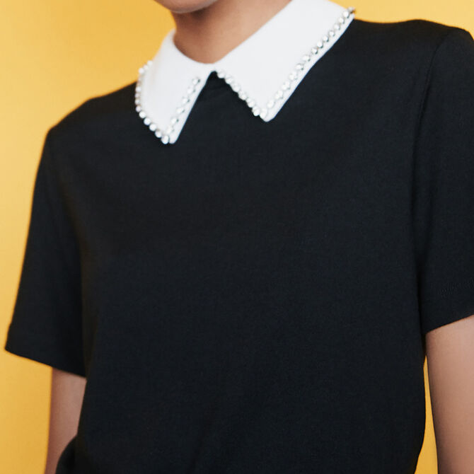 T-shirt with removable strass collar - See all - MAJE