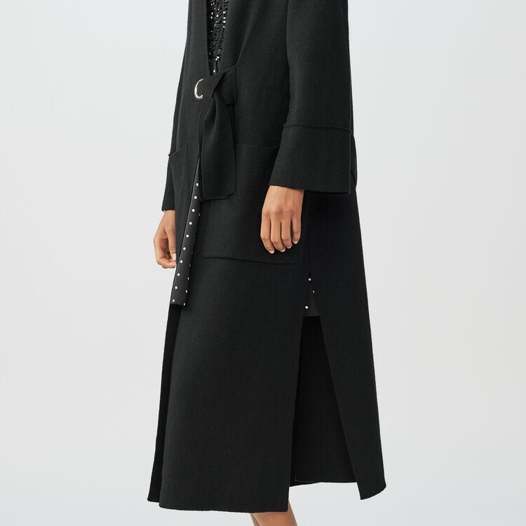 Long cardigan with black belt : Knitwear color Black 210