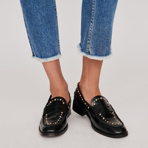 Studded glazed leather moccasins : Suits color Black