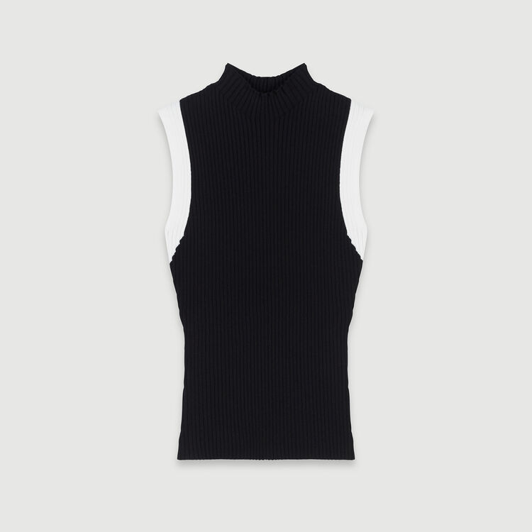 Light sleeveless contrast ribbed sweater : Knitwear color Black