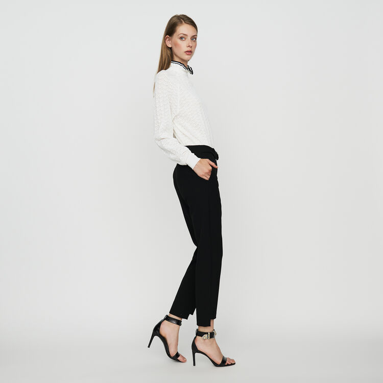 Straight crepe pant : Trousers color Black 210