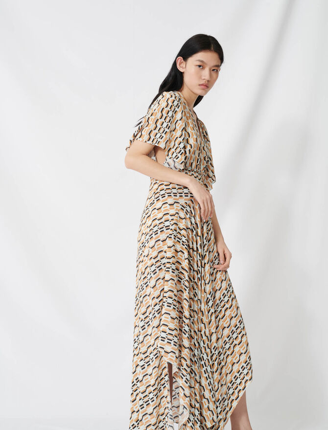 Printed scarf dress with smocked waist - Dresses - MAJE