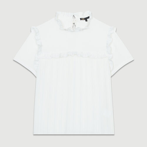 Pleated blouse with ruffles : Tops color White