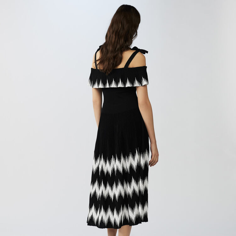 Long cold-shoulder knit dress : Dresses color Black 210