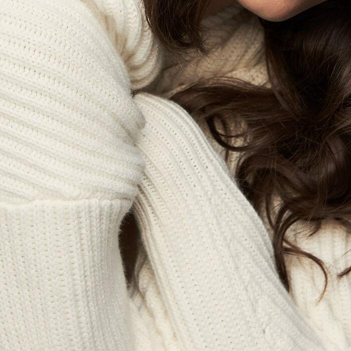 Long-sleeved, V-neck sweater : Knitwear color ECRU
