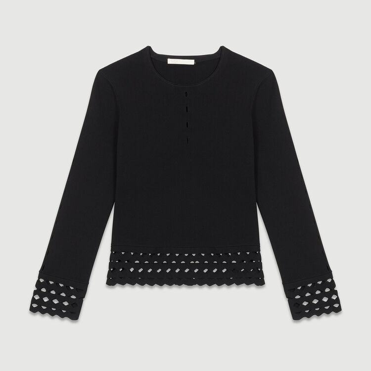 Jumper with openwork detail : Knitwear color Black 210