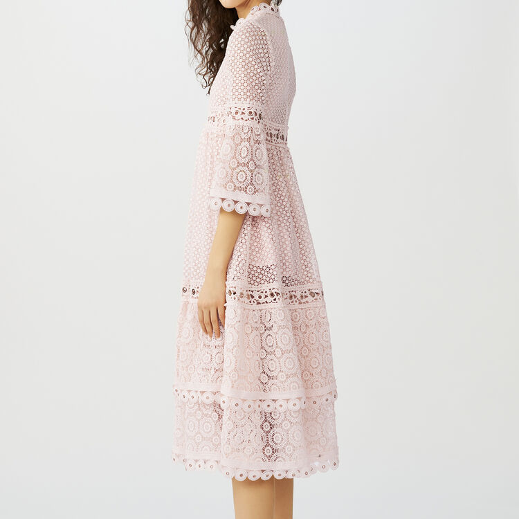 Long guipure lace dress : Dresses color Pink
