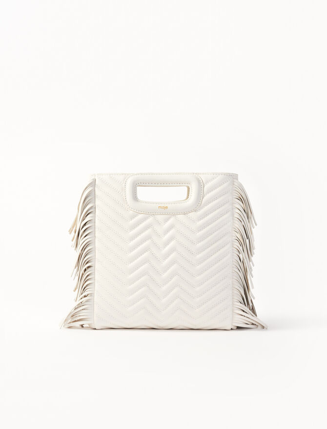 White quilted leather M bag - M for Maje - MAJE