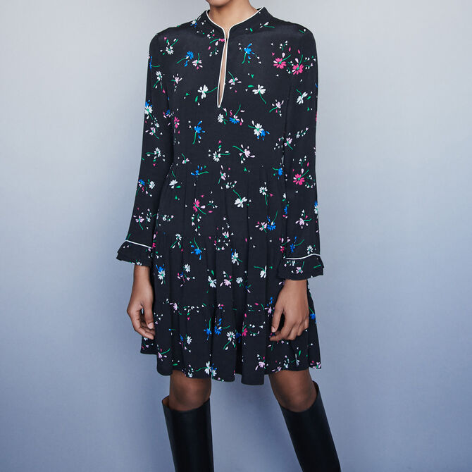 Printed-crepe piped dress - See all - MAJE