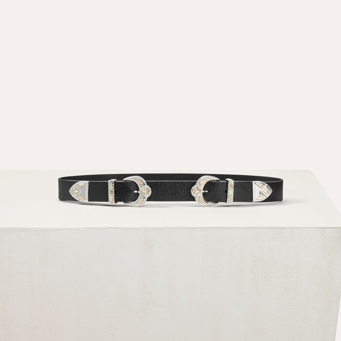 Double scalloped buckle leather belt : Belts color