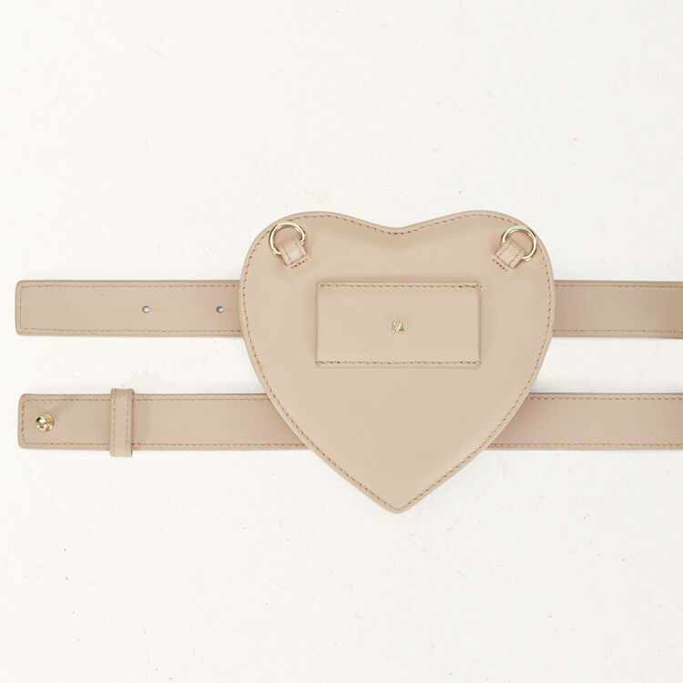 Quilted leather heart saddlebag : Star bags color Nude