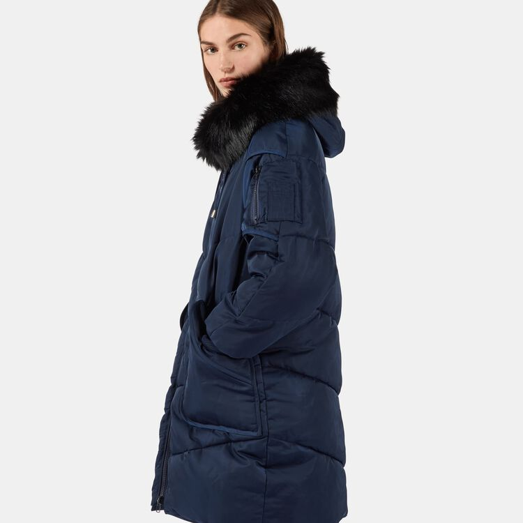 Long down jacket with fur : New Collection color Navy