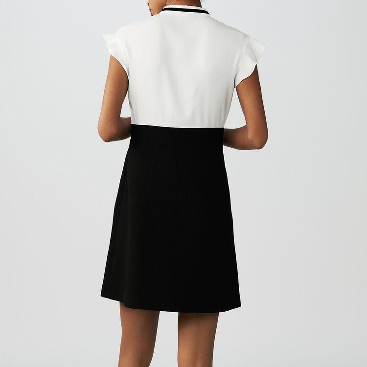 Bicolored embroidered crepe dress : Dresses color Ecru