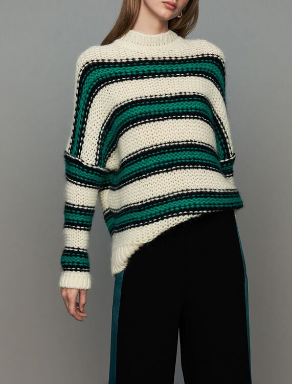 Oversize sweater in tricolor knit : New Collection color Green