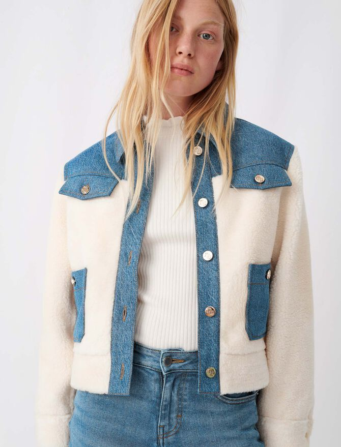Denim and faux fur jacket - New collection - MAJE
