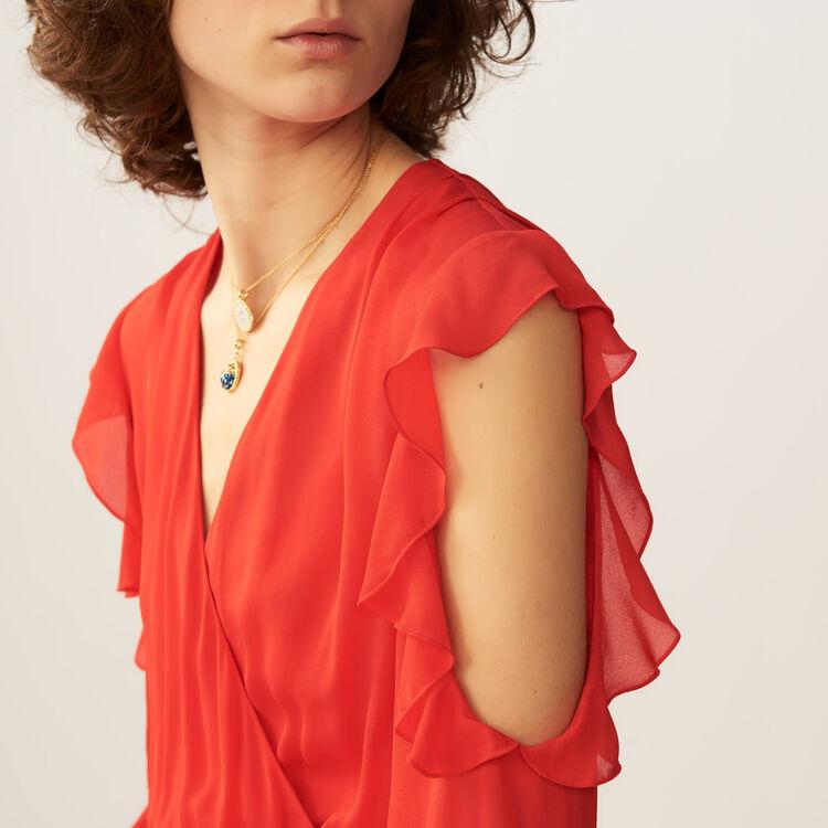 Maxi wrap dress with flounce detail : Dresses color ROUGE