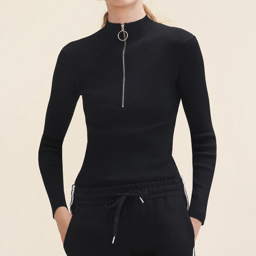 Fine stretch knit jumper with zip : Sweaters & Cardigans color Black 210