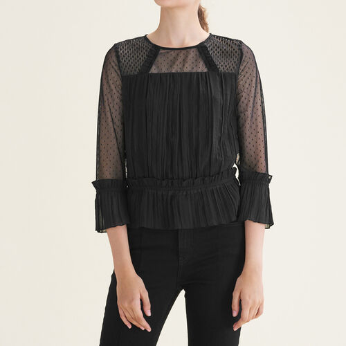 Flowing pleated top with dotted Swiss : Tops color Black 210