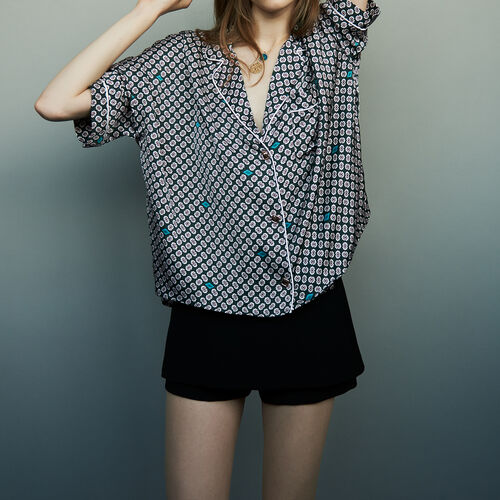 Printed satin shirt : Tops color PRINTED