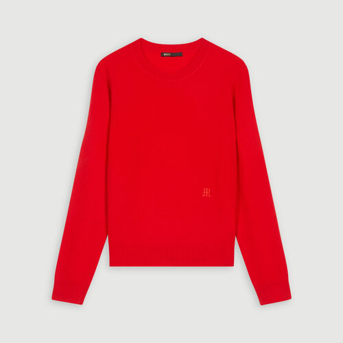 Jewel neck cashmere sweater : Knitwear color Red
