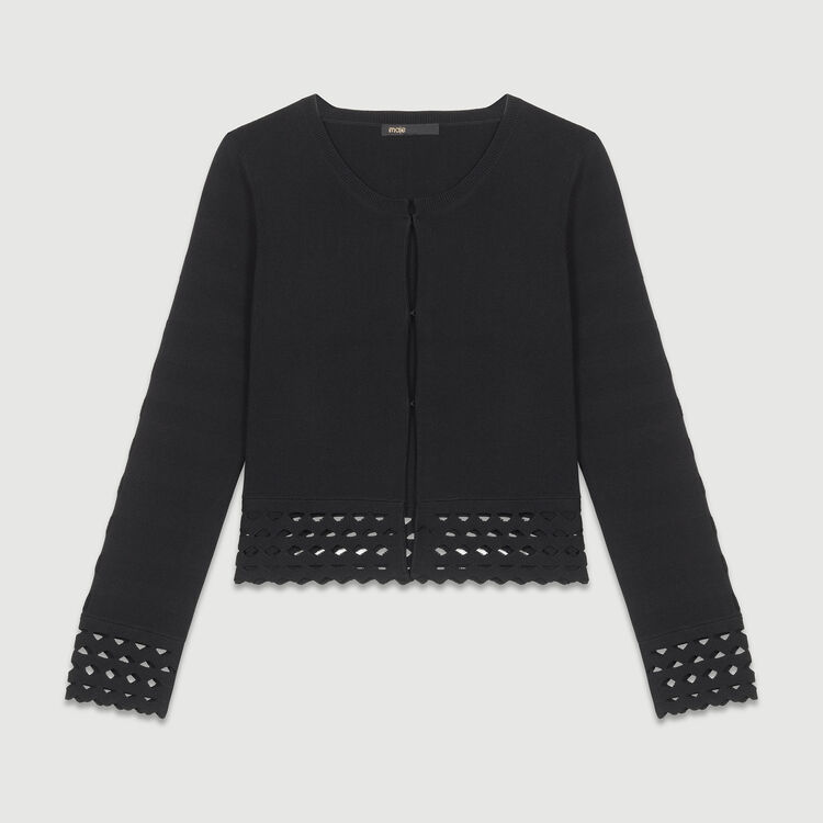 Cardigan with open-knit detailing : Knitwear color Black 210