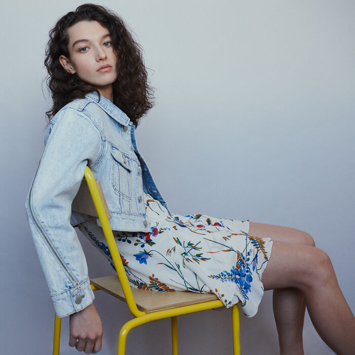 Cropped jacket in faded denim : Coats & Jackets color Denim