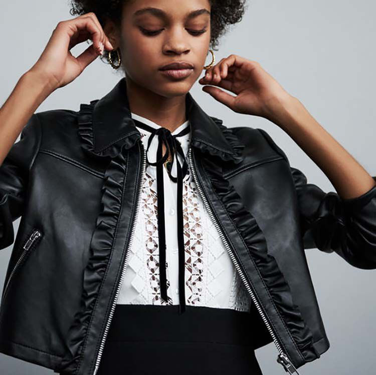 Cropped leather jacket with ruffles : Jackets color Black 210