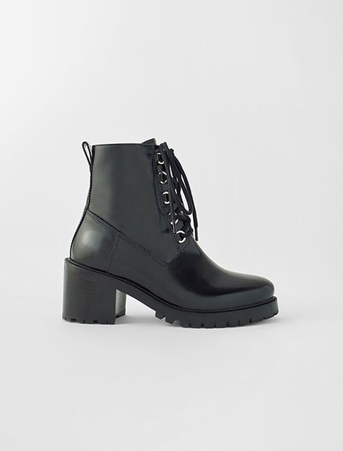 Black leather heeled boots - Star pieces - MAJE