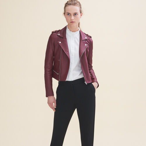 Leather jacket : Jackets & Blazers color Burgundy